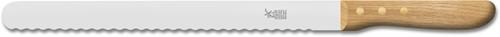 Robert Herder mes met golf voor braadstukken of grote broden 31.5 cm roestvrijstaal met eikenhouten heft