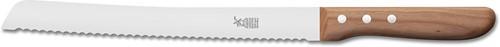 Broodmes 'Hochgeschliffen' extra lang met golven 26 cm roestvrijstaal met kersenhouten heft