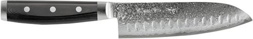 Japans Yaxell Gou Santoku koksmes 16,5 cm 101 laags roestvrij damast staal lemmet met kuiltjes met canvas-micarta heft