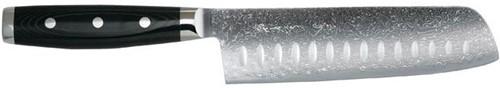 Japans Yaxell Gou Nakiri koksmes 18 cm 101 laags roestvrij damast staal lemmet met kuiltjes met canvas-micarta heft