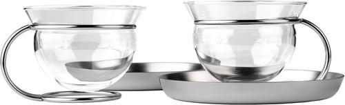 Mono Filio, set van twee theeglazen met RVS schotel