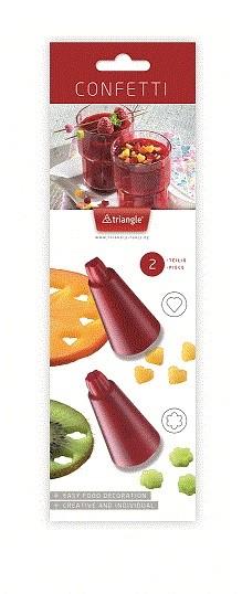 Triangle Essential Confetti-uitsteker set 2-delig hart en bloem rood kunststof