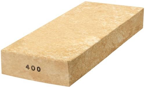 Wetsteen wit-geel keramische steen korrel 400 groot 240x100x40mm
