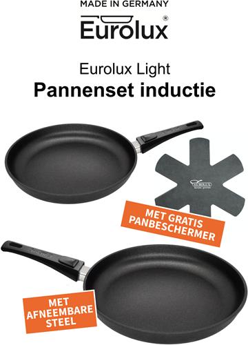 Eurolux Pannenset light bestaande uit koekenpan 24 cm en 28 cm met afneembare steel + GRATIS Panbeschermer