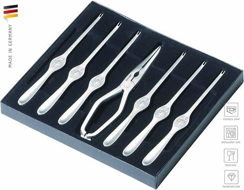 Kreeftenset 7-delig, kreeftenschaar en 6 vorkjes in doos