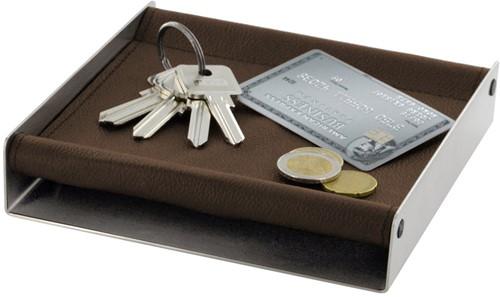 Mono Depot accessoires opslag, bruin leer 16 x 16 cm