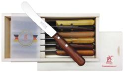 Ontbijtmes 'Buckels' set van zes messen in houten box
