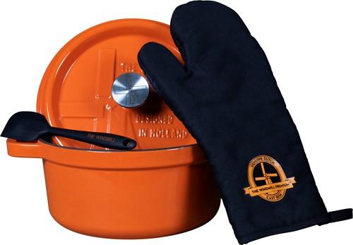 The Windmill Premium gietijzeren braadpan 3,5 liter oranje emaille incl. deksel, ovenhandschoen en spatel